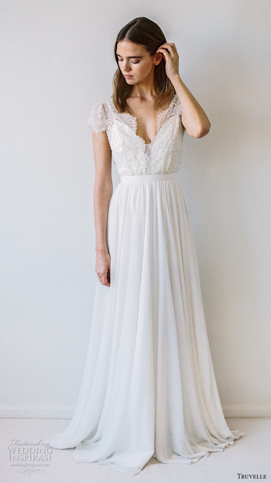 truvelle 2017 bridal cap sleeves deep plunging v neckline heavily embellished bodice romantic modified a line wedding dress open back sweep train (cambie) mv