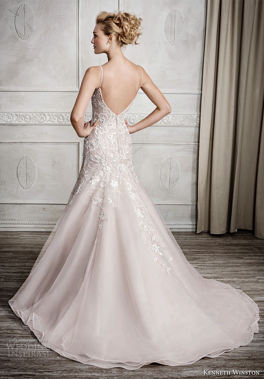 kenneth winston fall 2016 bridal spagetti strap v neck heavily embelished bodice romantic pretty champagne color modified a line wedding dress v back sweep train (1682) bv