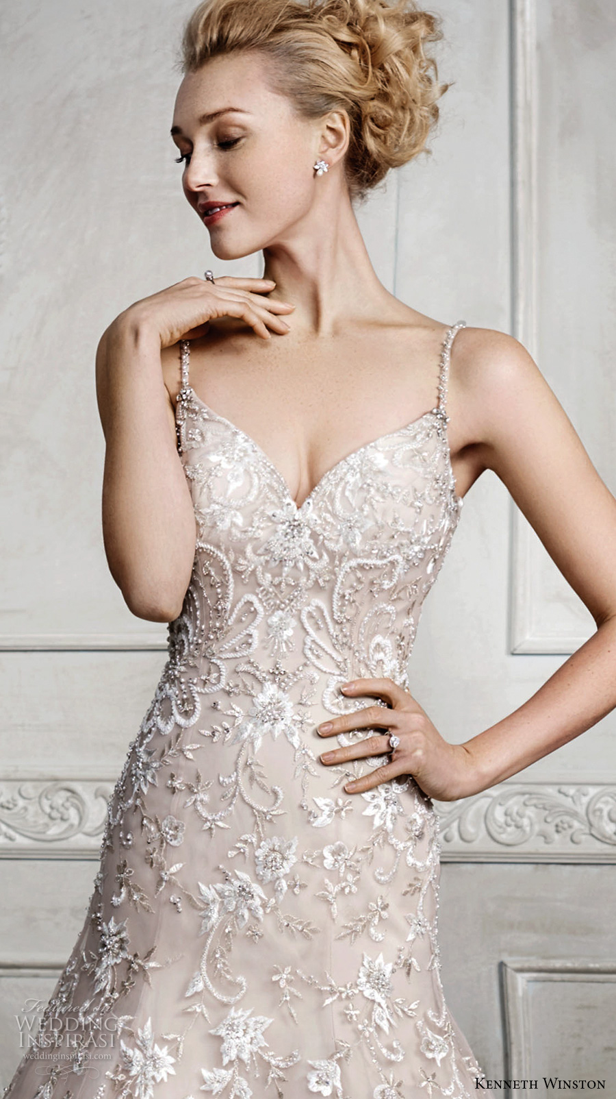 kenneth winston fall 2016 bridal spagetti strap v neck heavily embelished bodice romantic pretty champagne color modified a line wedding dress v back sweep train (1682) zv