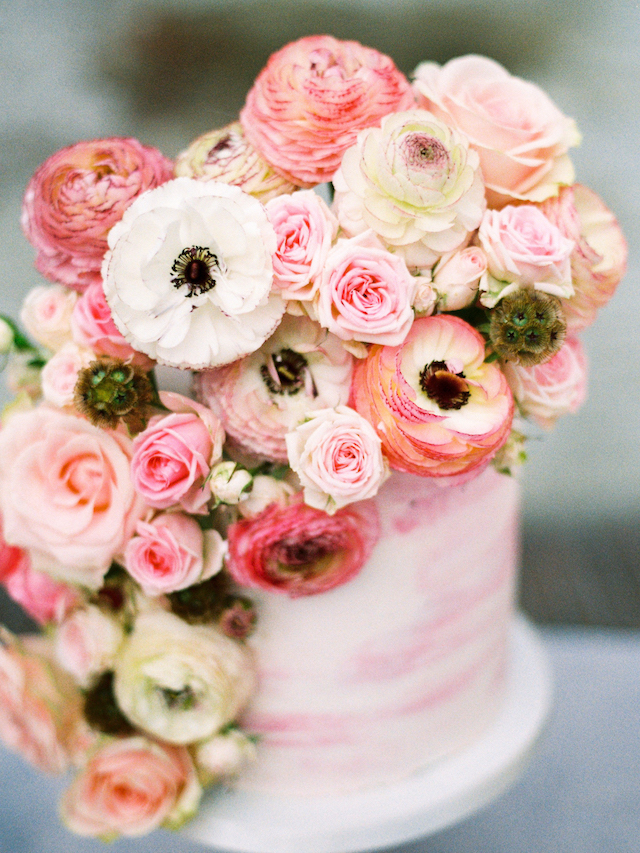 Flower adorned pink watercolor wedding cake | Chymo & More