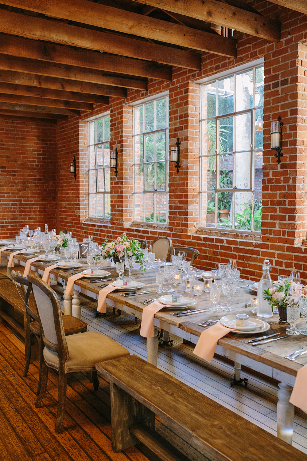 wedding tablescape inspiration - photo by Priscila Valentina Photography http://ruffledblog.com/blush-pink-wedding-at-carondelet-house