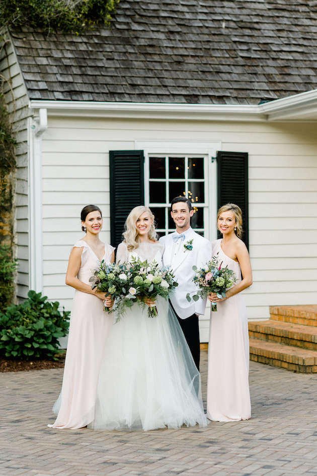 The bridesmaids were wearing blush and rose quartz lipstick