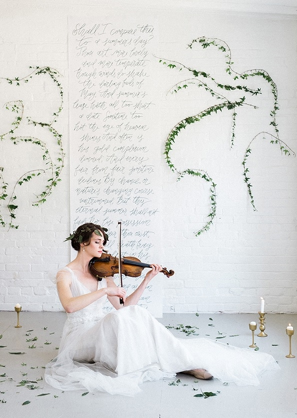 This wedding shoot is inspired by music, and the bride is a real musician