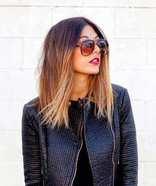 long bob ombre hair from brown to almost blonde