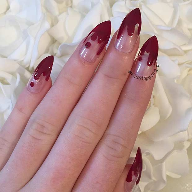 Bloody French Tip Stiletto Nails for Halloween