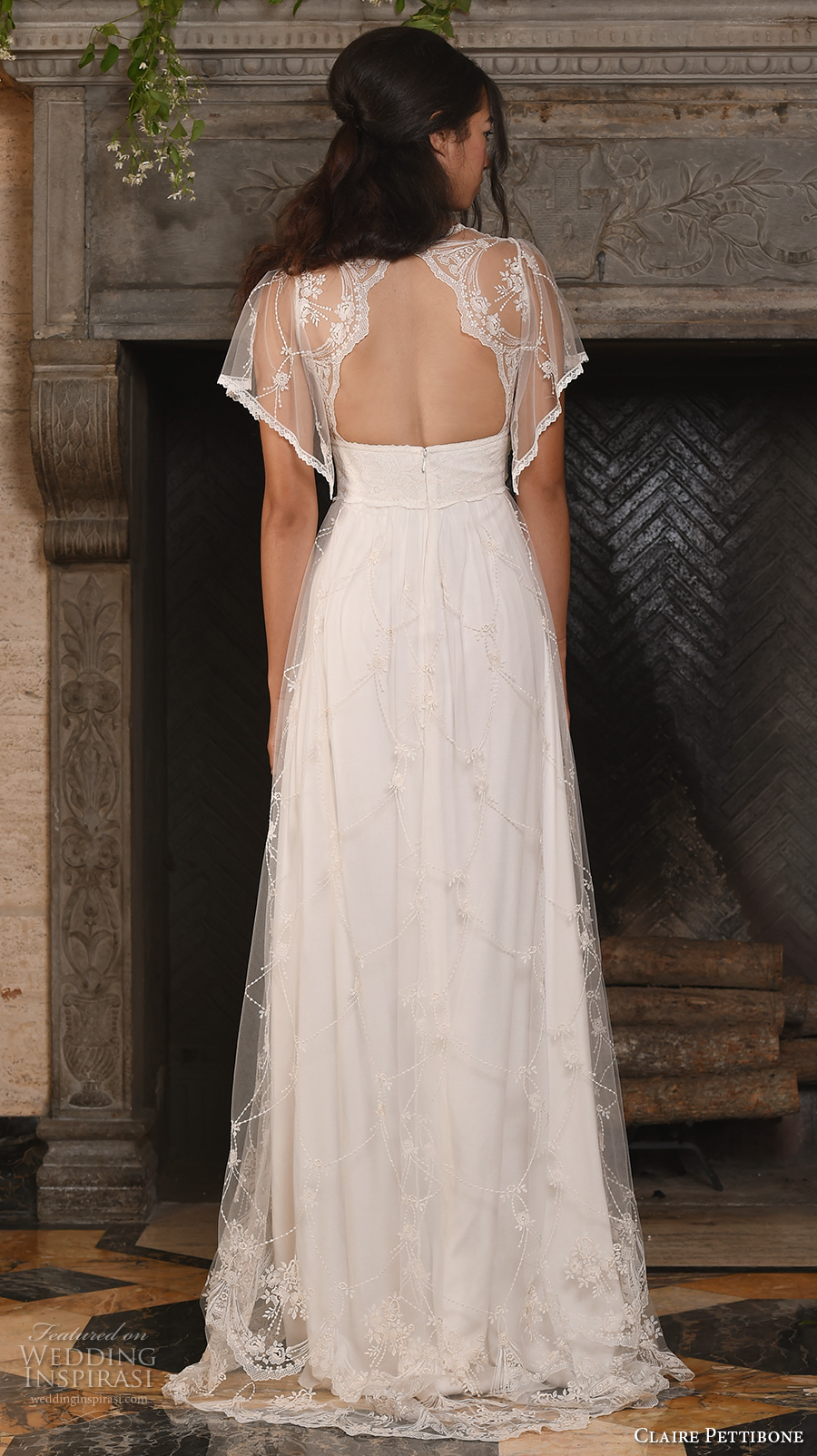 claire pettibone fall 2017 bridal short butterfly sleeves v neck lightly embellished romantic bohemian modified a line wedding dress keyhole back sweep train (theia) bv