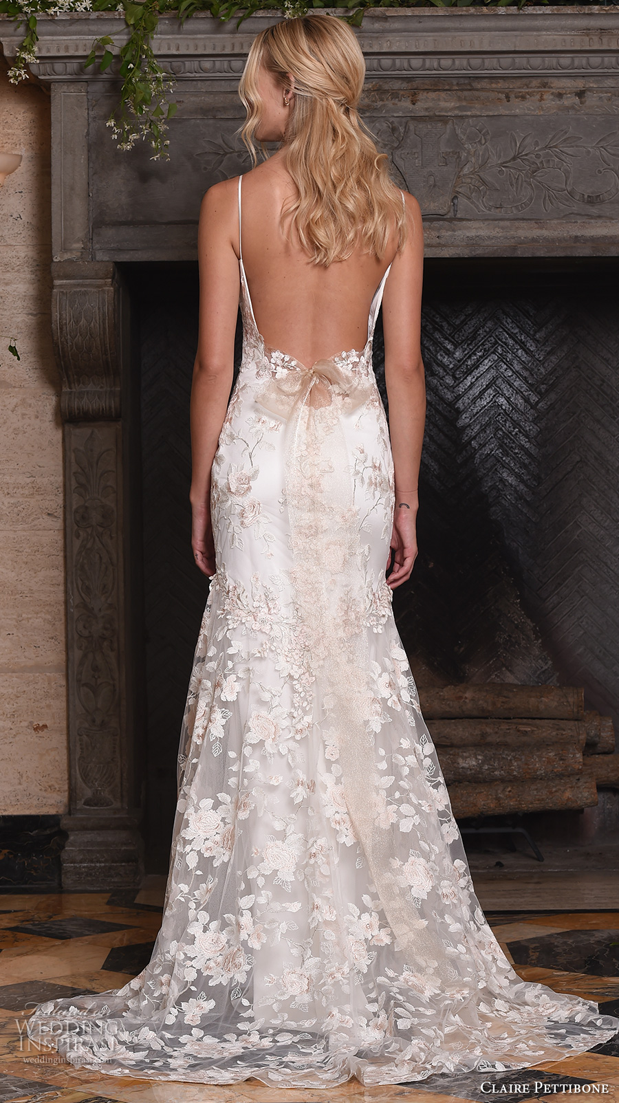 claire pettibone fall 2017 bridal sleeveless embroidered strap v neck full embellishment floral embroidery romantic mermaid wedding dress low back sweep train (april) bv