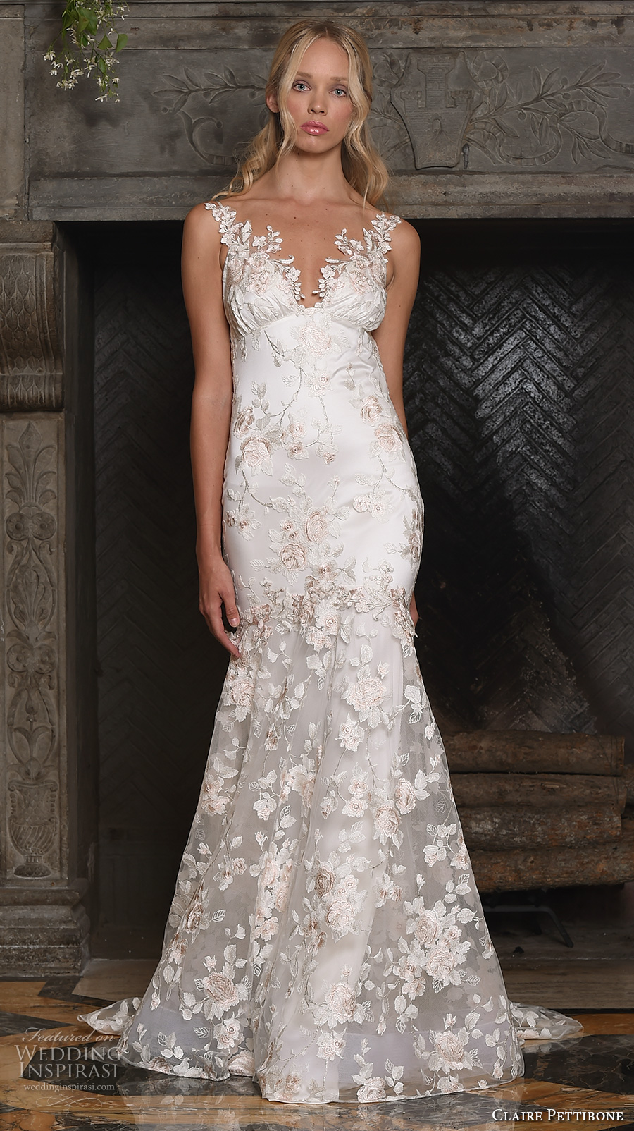 claire pettibone fall 2017 bridal sleeveless embroidered strap v neck full embellishment floral embroidery romantic mermaid wedding dress low back sweep train (april) mv