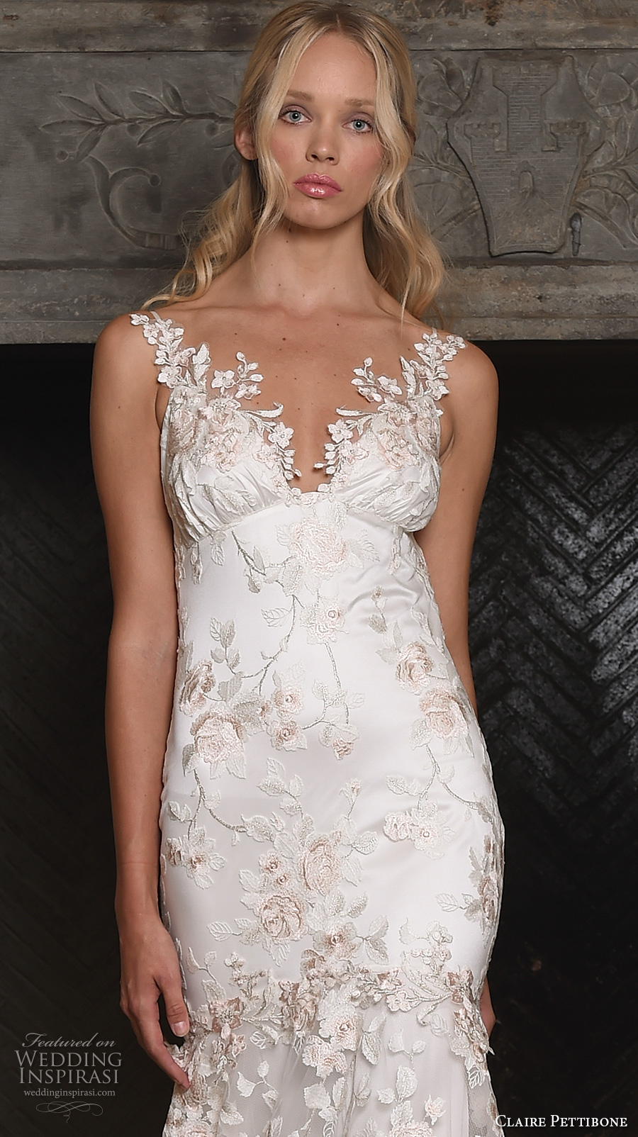 claire pettibone fall 2017 bridal sleeveless embroidered strap v neck full embellishment floral embroidery romantic mermaid wedding dress low back sweep train (april) zv