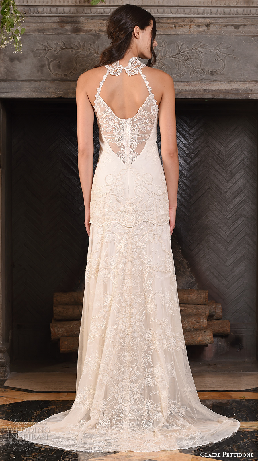 claire pettibone fall 2017 bridal sleeveless halter neck heavily embellished bodice ivory color drop waist vintage modified a line wedding dress sweep train (athena) bv