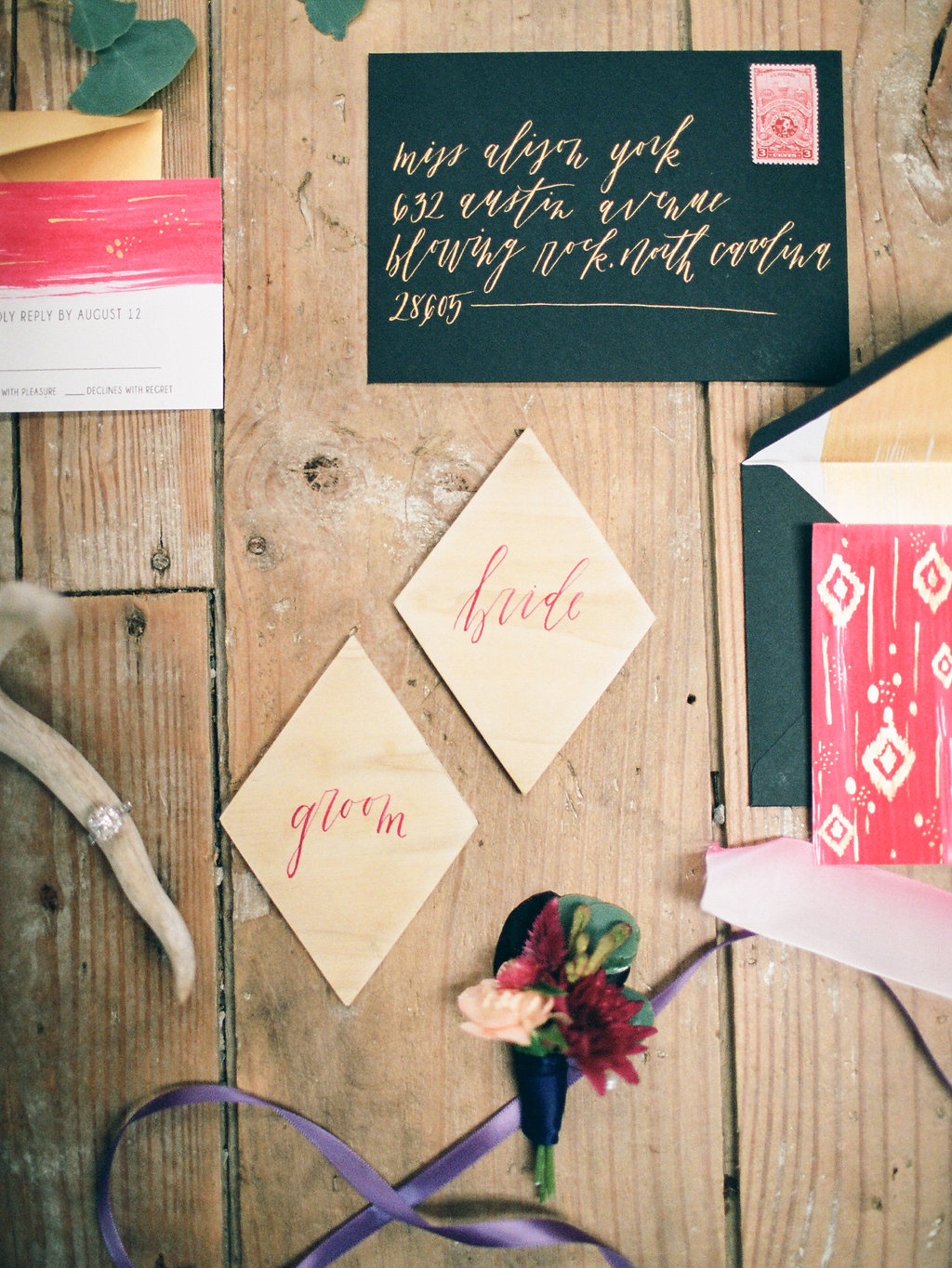 wedding stationery - photo by Elizabeth Marie Photos http://ruffledblog.com/gold-and-plum-wedding-inspiration-with-hayley-paige-gown