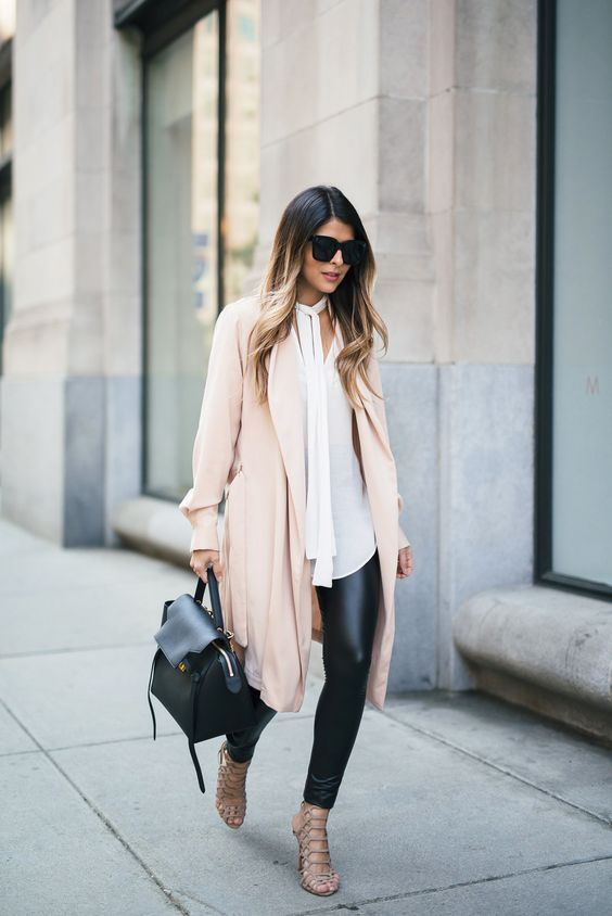 faux leather leggings, a long white shirt, a blush coat and nude heels