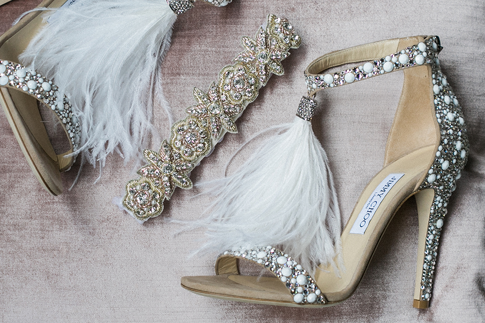 glam wedding shoes - photo by Alexis June Weddings http://ruffledblog.com/industrial-glam-wedding-inspiration