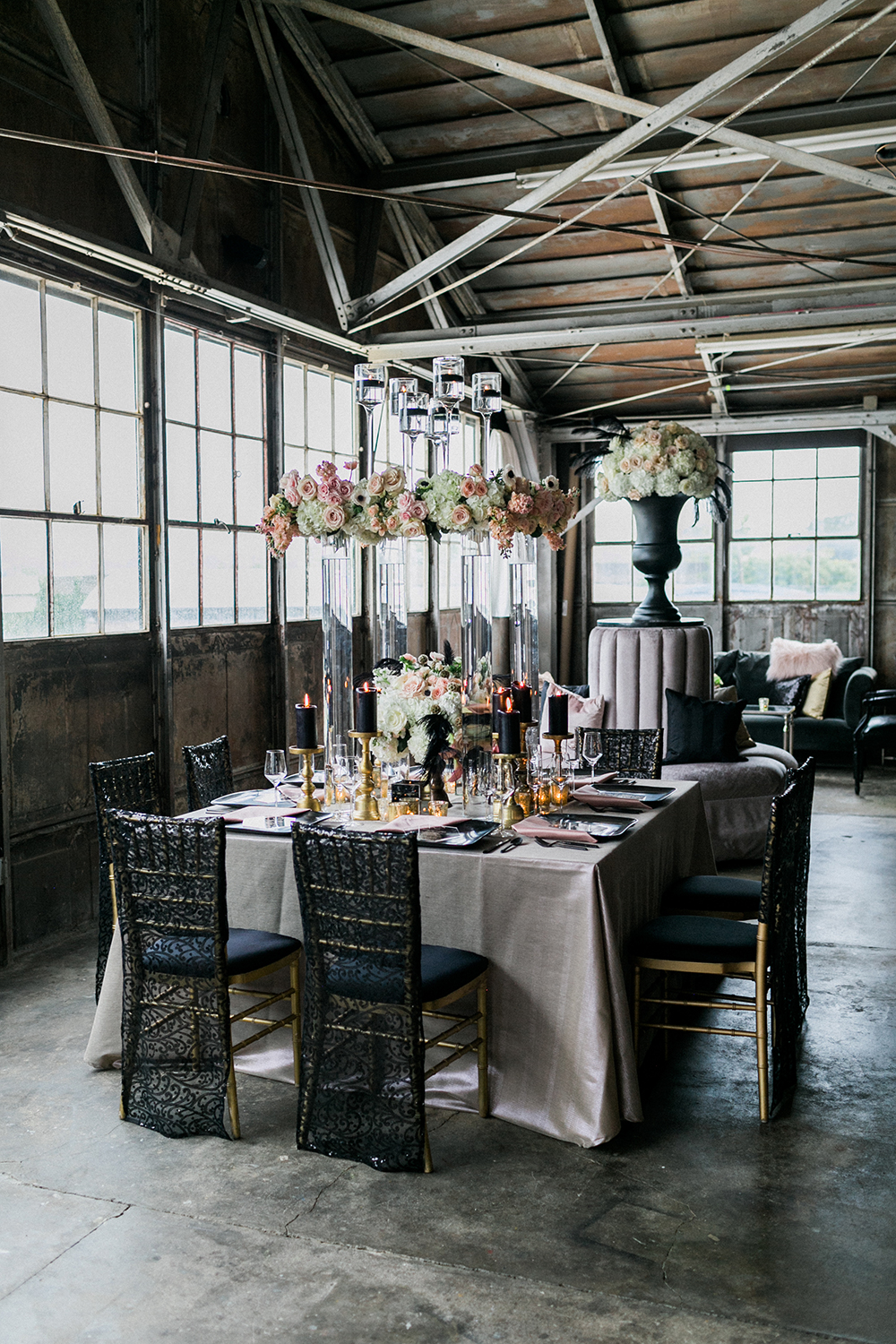 industrial glam wedding - photo by Alexis June Weddings http://ruffledblog.com/industrial-glam-wedding-inspiration