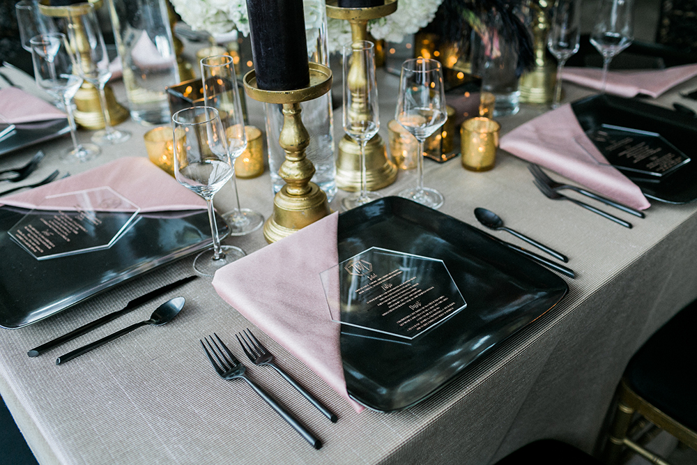 modern place setting - photo by Alexis June Weddings http://ruffledblog.com/industrial-glam-wedding-inspiration