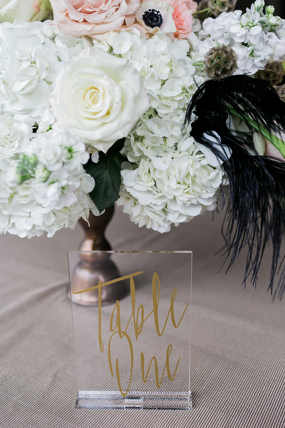 acrylic table numbers - photo by Alexis June Weddings http://ruffledblog.com/industrial-glam-wedding-inspiration