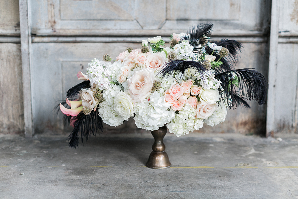 wedding flowers - photo by Alexis June Weddings http://ruffledblog.com/industrial-glam-wedding-inspiration
