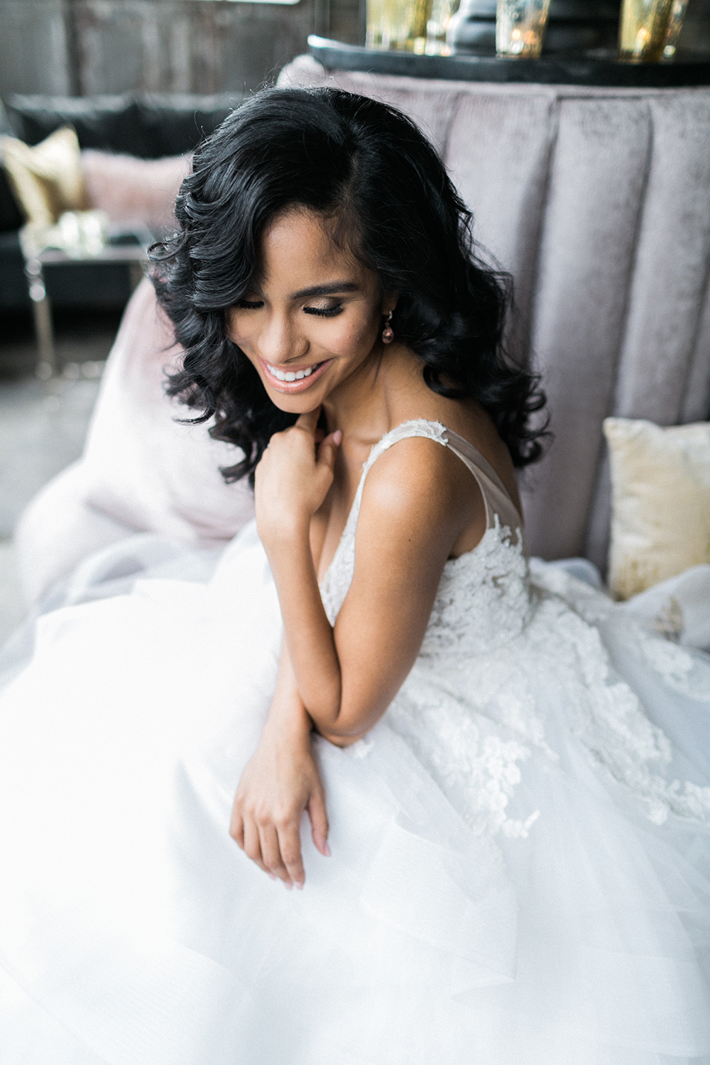 bridal hair - photo by Alexis June Weddings http://ruffledblog.com/industrial-glam-wedding-inspiration