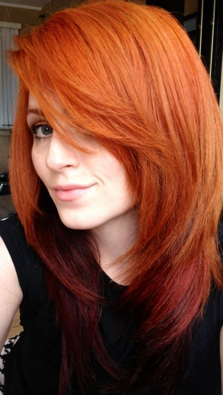 fiery copper hair with dark red ombre
