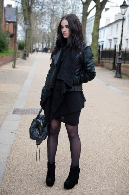 With black dress, jacket and bag