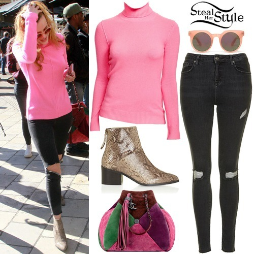 Bella Thorne - Pink Turtle Neck, Ripped Jeans