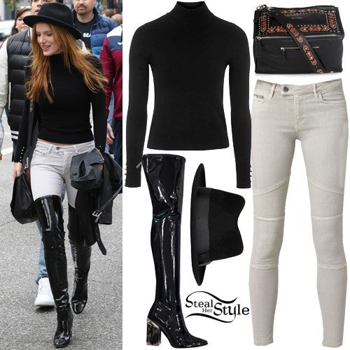 Bella Thorne - Black Top over Gorgeous Knee Boots