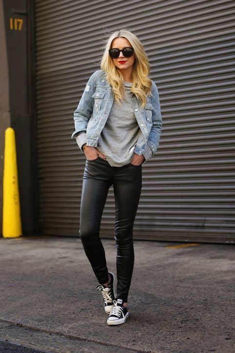 black leather leggings with a denim jacket and sneakers for a fun, edgy weekend look