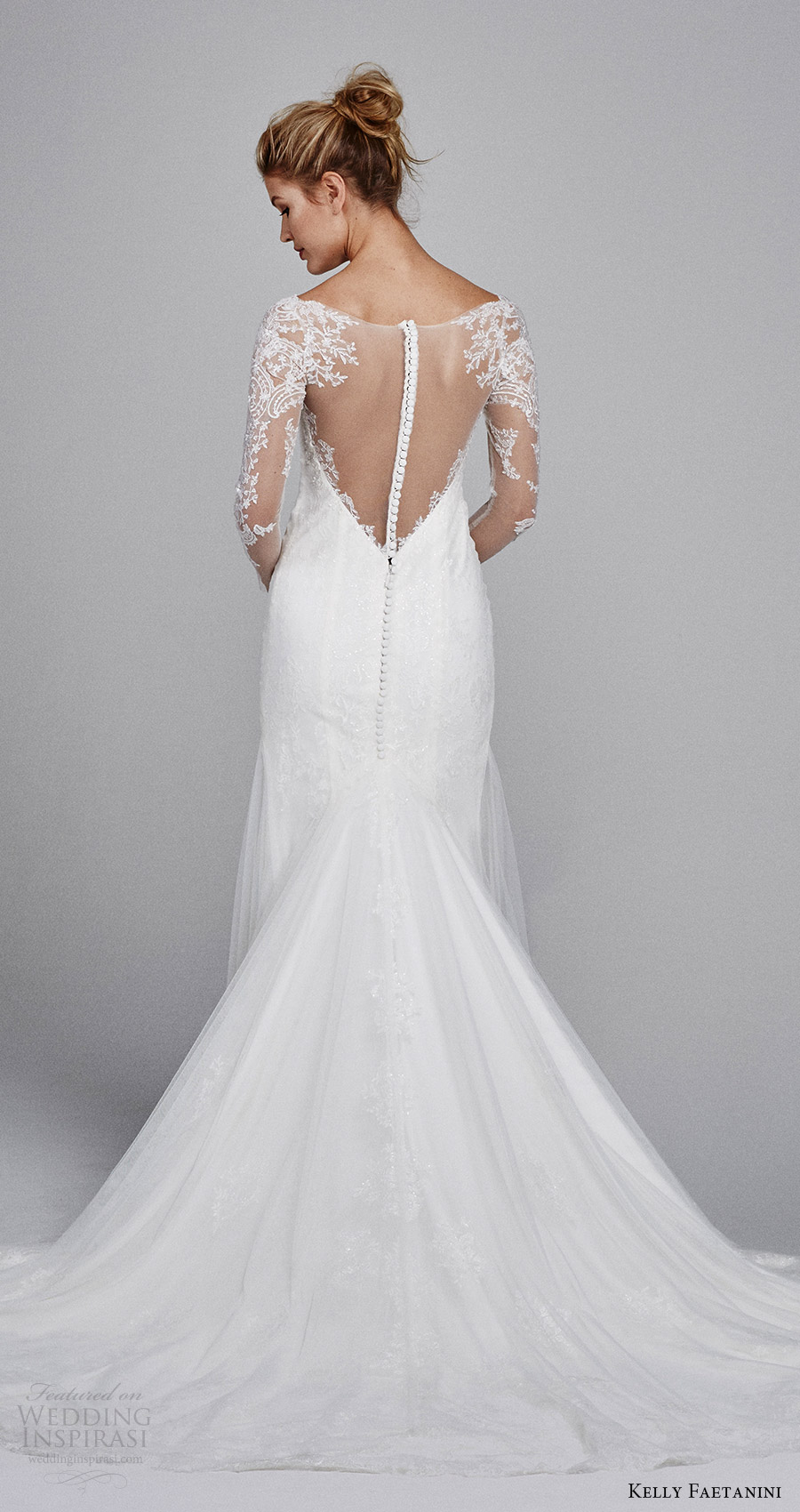 kelly faetanini bridal fall 2017 illusion long sleeves sweetheart trumpet lace wedding dress (delphine) bv illusion back train