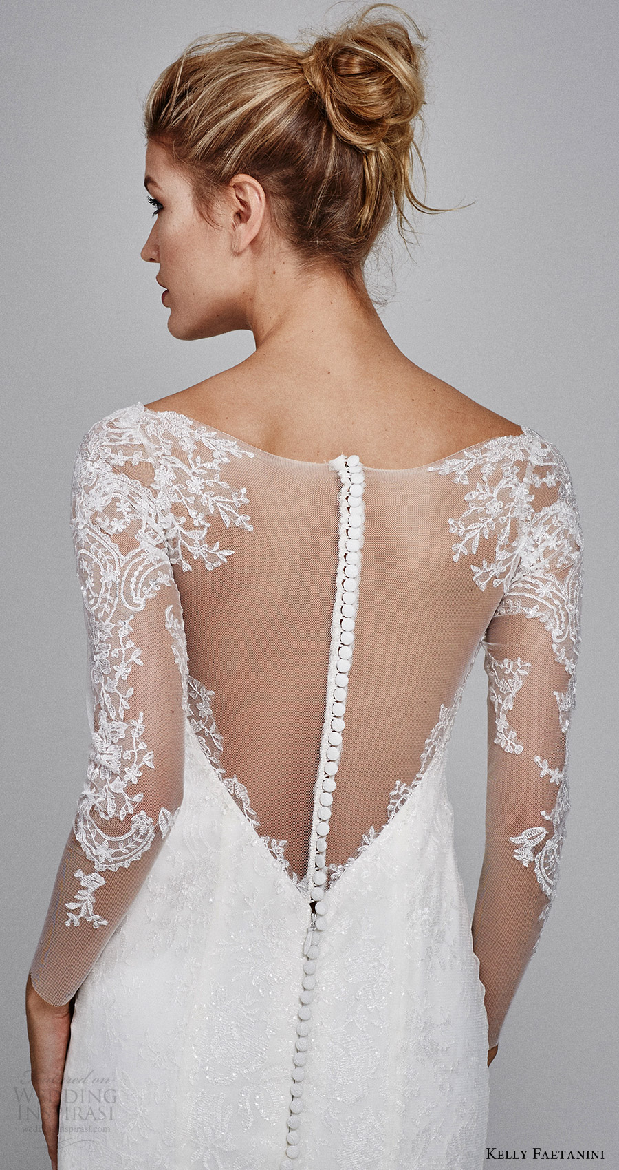 kelly faetanini bridal fall 2017 illusion long sleeves sweetheart trumpet lace wedding dress (delphine) zbv illusion back