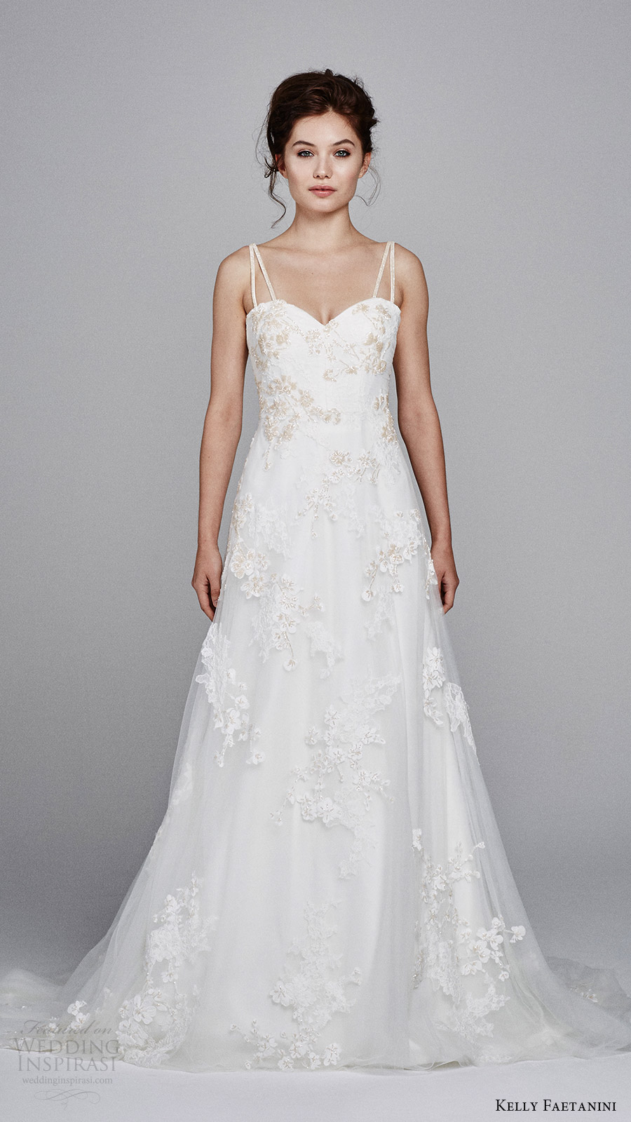 kelly faetanini bridal fall 2017 sleeveless double straps sweetheart alencon lace aline wedding dress (fleur) mv