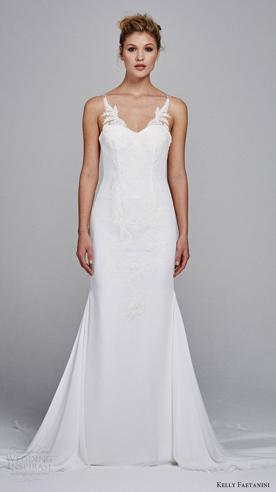 kelly faetanini bridal fall 2017 sleeveless sweetheart illusion vneck sheath alencon lace wedding dress (heather) mv