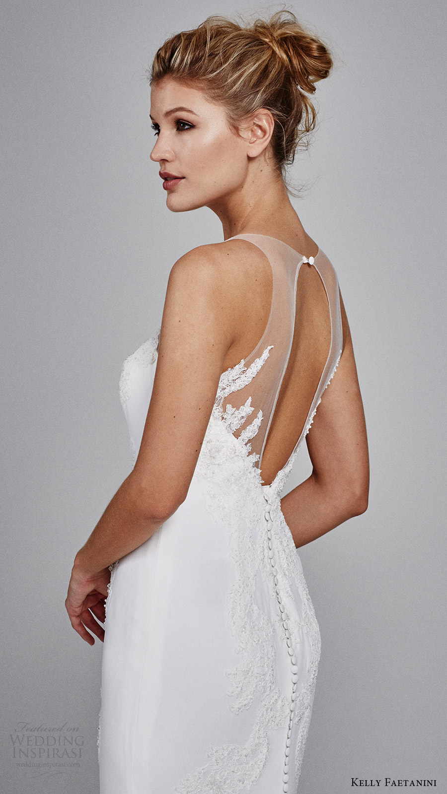 kelly faetanini bridal fall 2017 sleeveless sweetheart illusion vneck sheath alencon lace wedding dress (heather) zsv