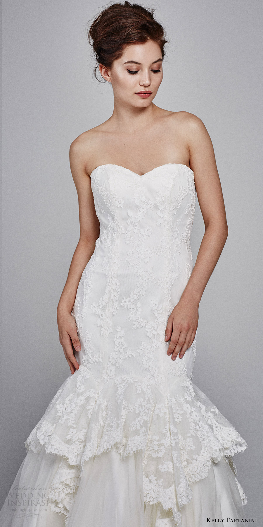 kelly faetanini bridal fall 2017 strapless sweetheart lace mermaid wedding dress (holly strapless) mv