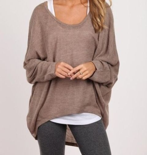 grey leggings, a brown sweater and a white tank for sporty style
