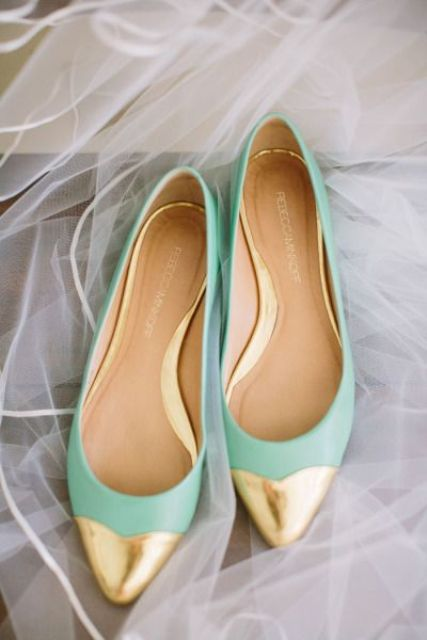 mint and gold flats for brides or bridesmaids
