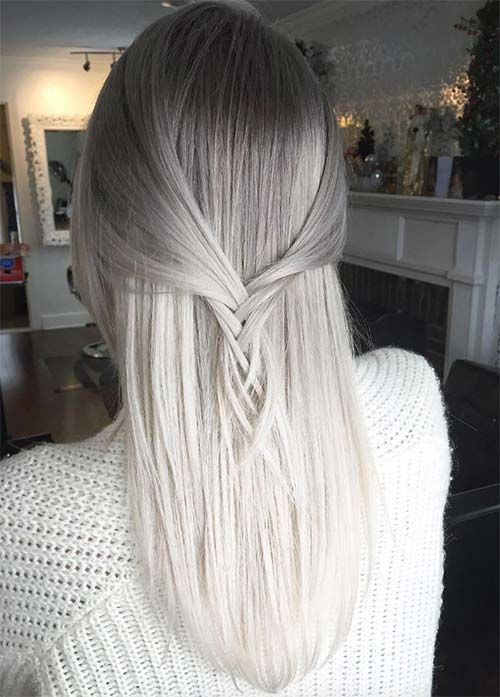 ombre grey hair from grey to white looks subtle