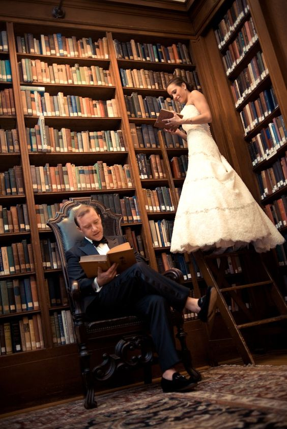 show off your dress using a library ladder