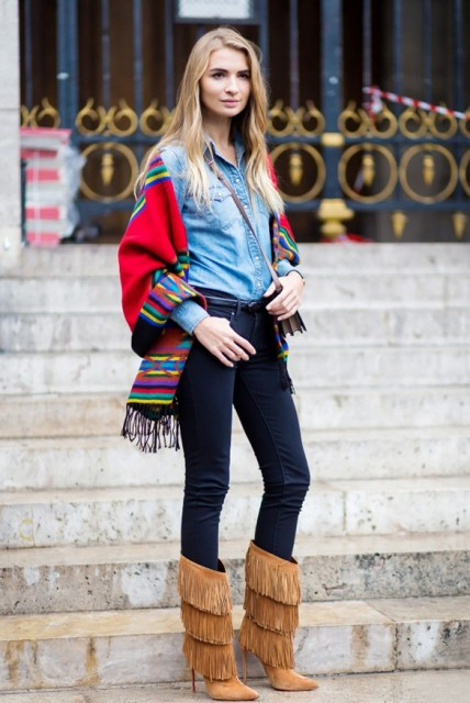 With denim shirt, skinny jeans and colored scarf