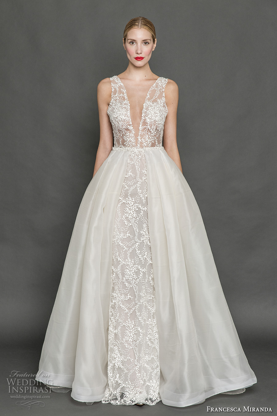 francesca miranda fall 2017 bridal sleeveless thick strap deep plunging v neck full embellishment sexy a line wedding dress overskirt low back sweep train (mia) mv