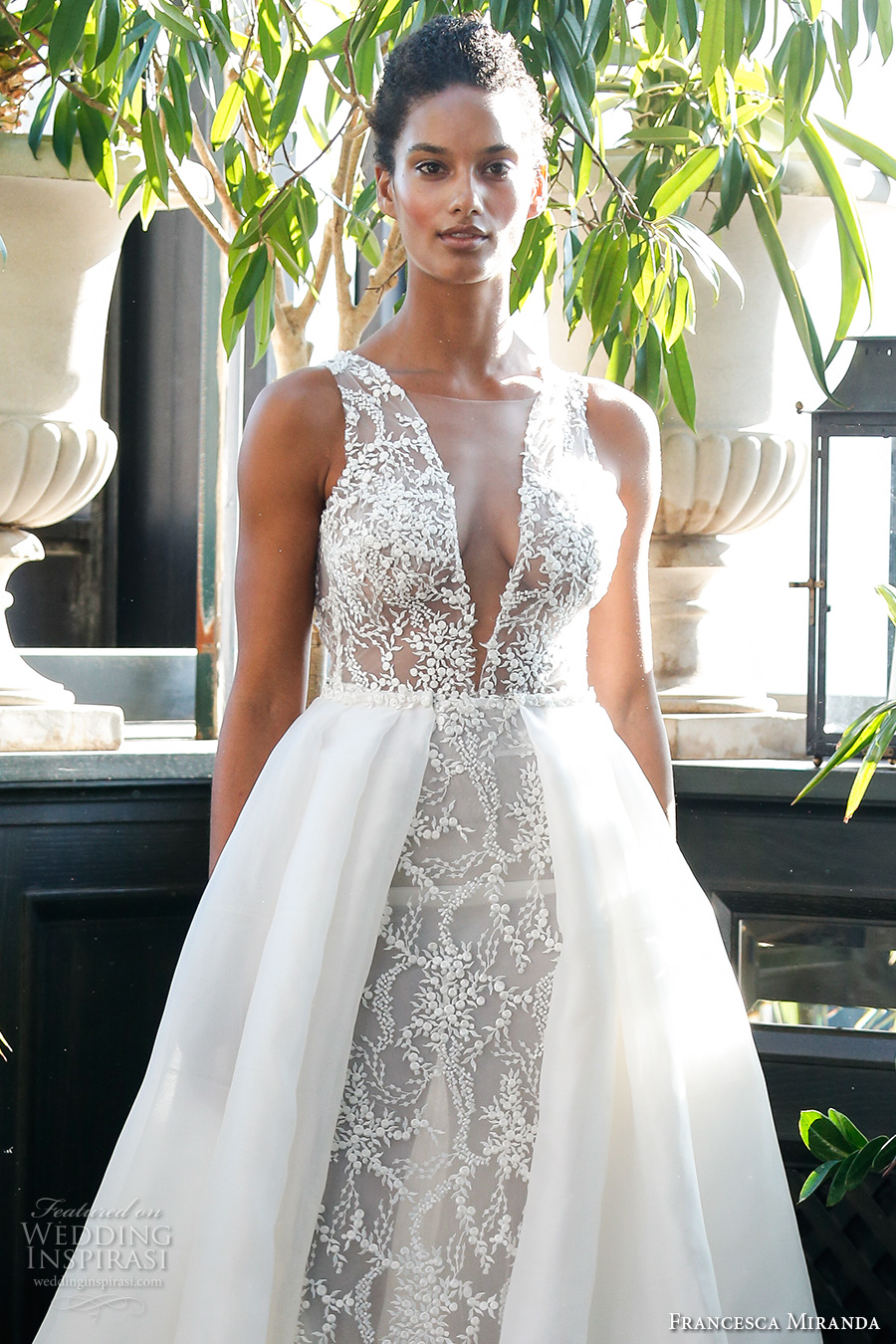 francesca miranda fall 2017 bridal sleeveless thick strap deep plunging v neck full embellishment sexy a line wedding dress overskirt low back sweep train (mia) zv