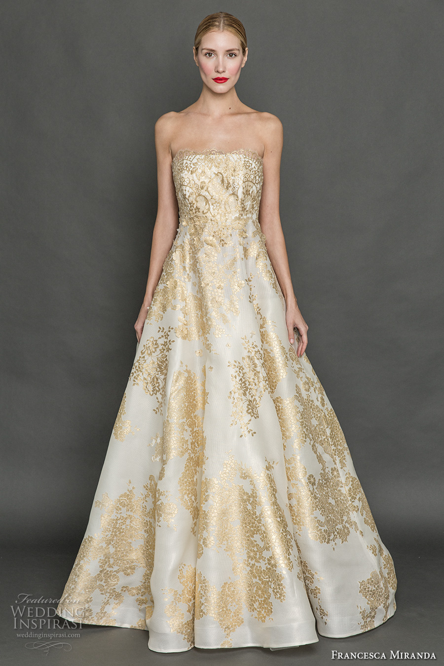 francesca miranda fall 2017 bridal strapless straight across neckline full embellishment gold embroidery princess glamorous a wedding dress sweep train (tiana) mv