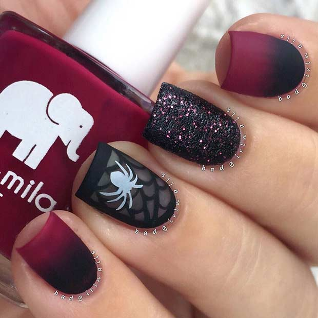 Ombre Matte Spider Halloween Nails