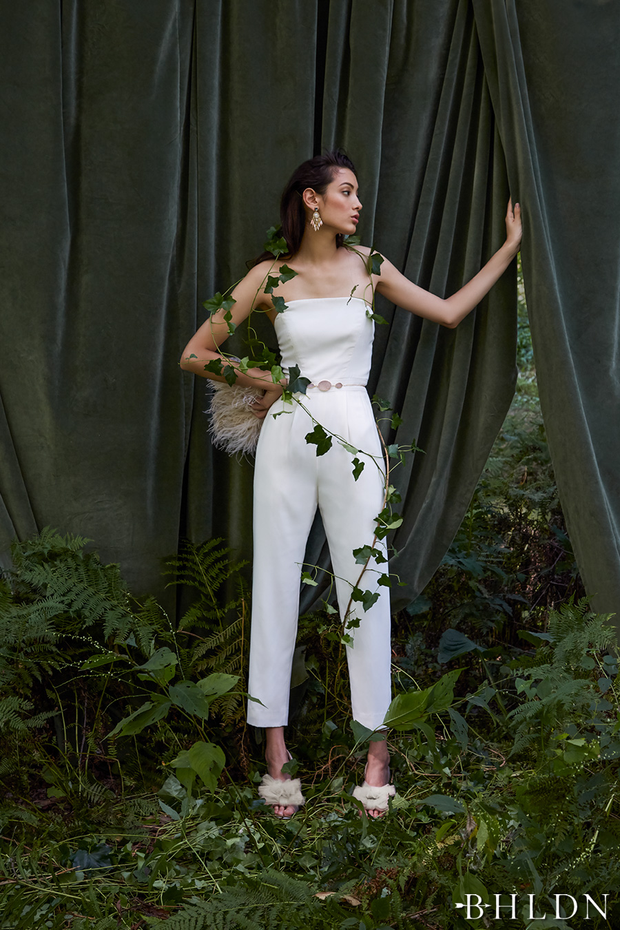 bhldn fall 2016 bridal strapless straight across neckline simple clean sophiscated jumpsuit wedding dress (langley jumpsuit) mv