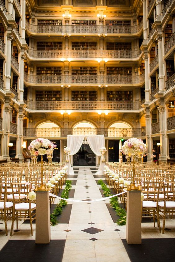 Peabody Library in Baltimore is ideal for an art deco wedding