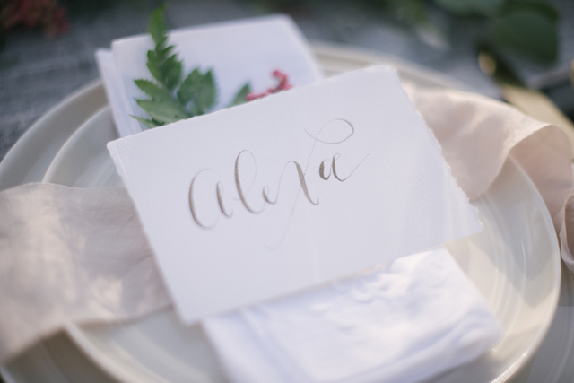 Whimsical calligraphy place card | Lauren Carroll Photography