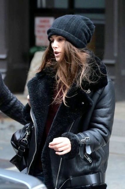 With shearling jacket