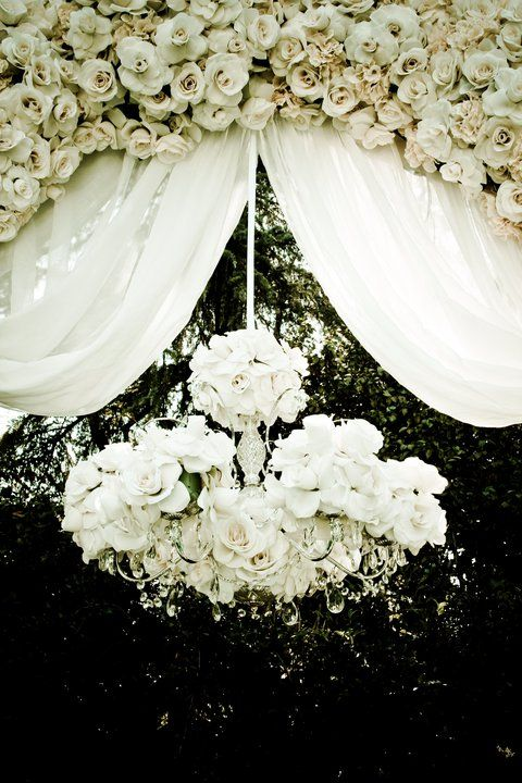 white rose chandlier hanging in a white rose weddign arch