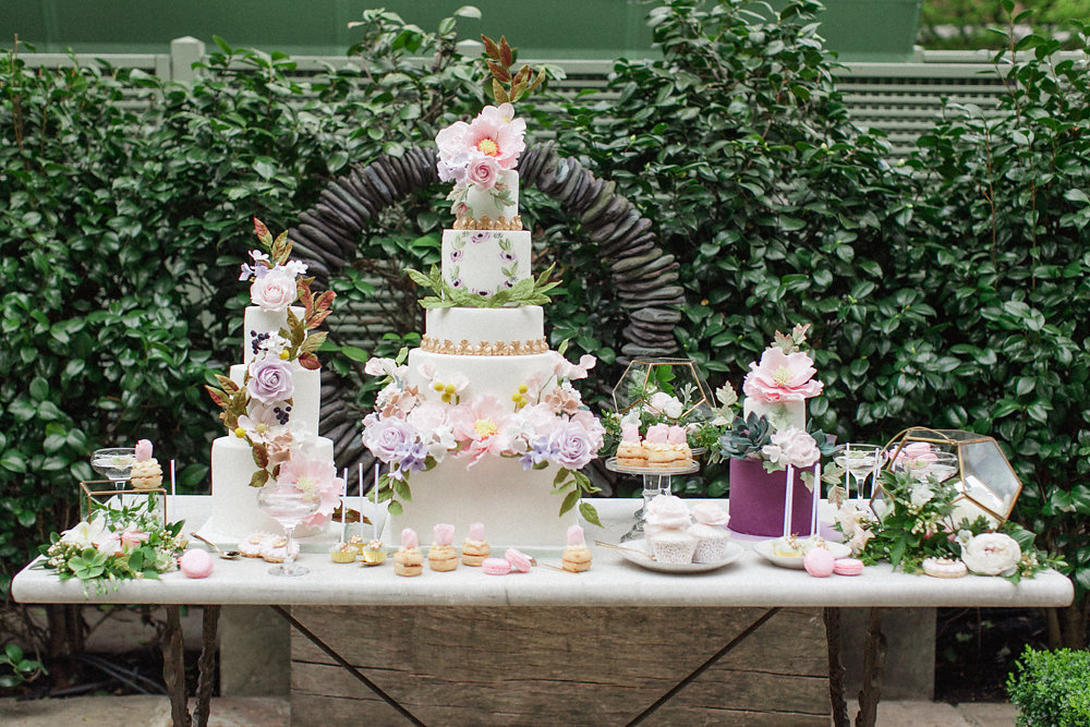 cake table - photo by Roberta Facchini Photography http://ruffledblog.com/herbarium-inspired-wedding-ideas