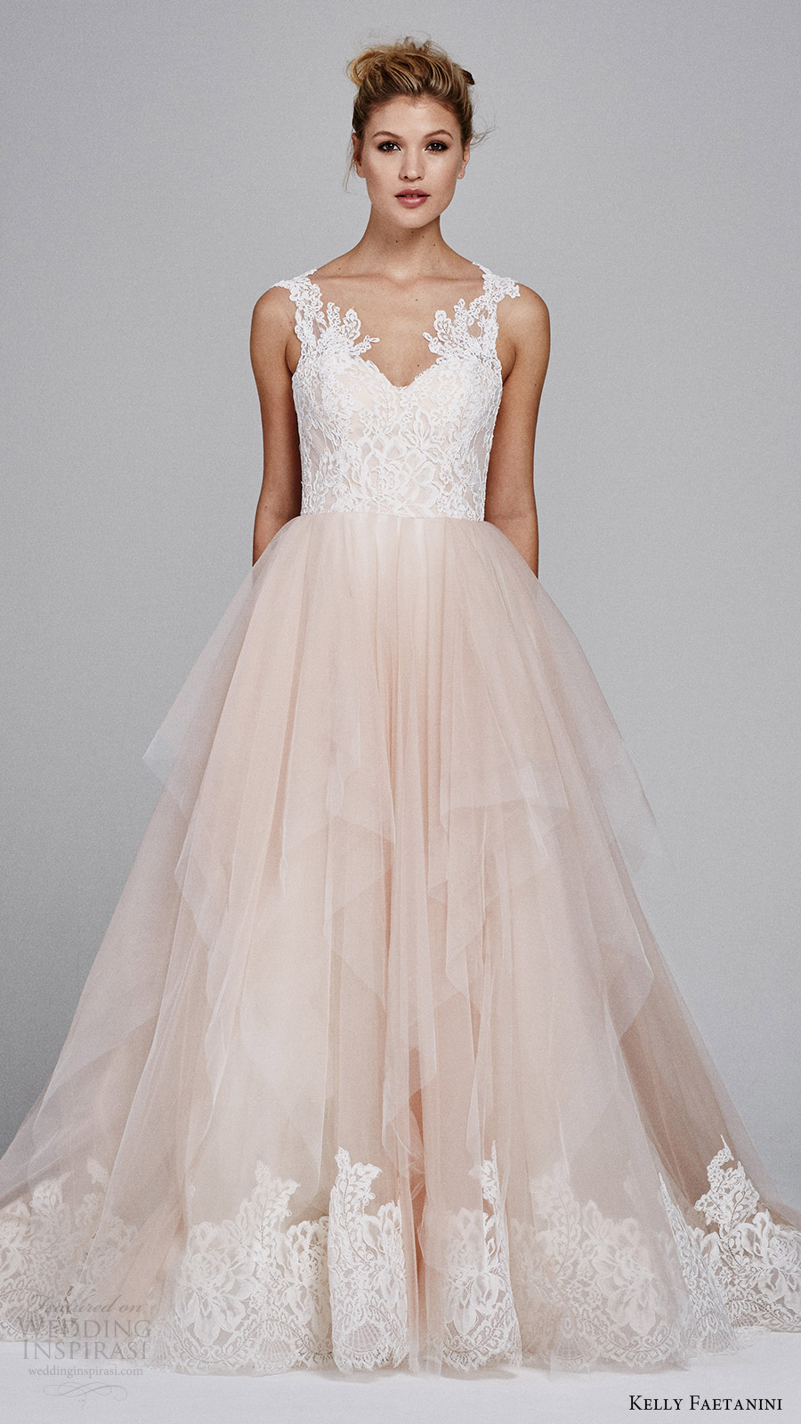 kelly faetanini fall 2017 sleeveless sweetheart lace bodice aline wedding dress (azalea) mv blush skirt lace hem