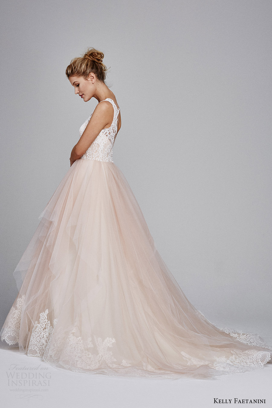 kelly faetanini fall 2017 sleeveless sweetheart lace bodice aline wedding dress (azalea) sv blush skirt lace hem train
